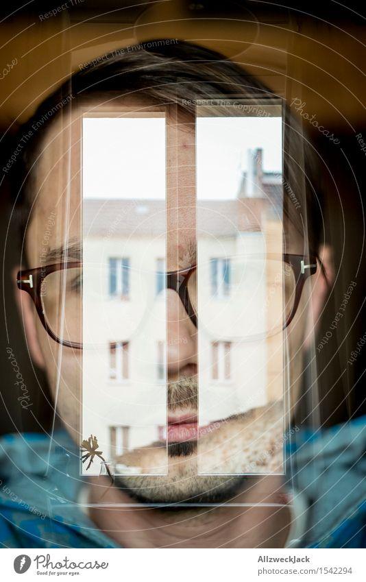 Pause maskulin Junger Mann Jugendliche Erwachsene Kopf 1 Mensch 30-45 Jahre Hoodie Kapuzenpullover Brille brünett Schmerz Sehnsucht Einsamkeit Erschöpfung