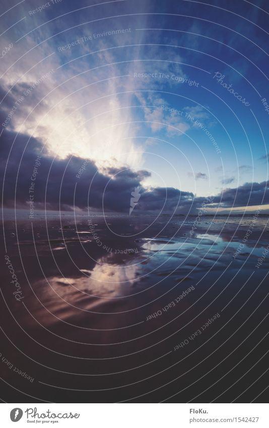 Watt und Wolken Ferien & Urlaub & Reisen Ausflug Ferne Freiheit Strand Meer Wellen Umwelt Natur Landschaft Urelemente Erde Luft Wasser Horizont Sonnenaufgang