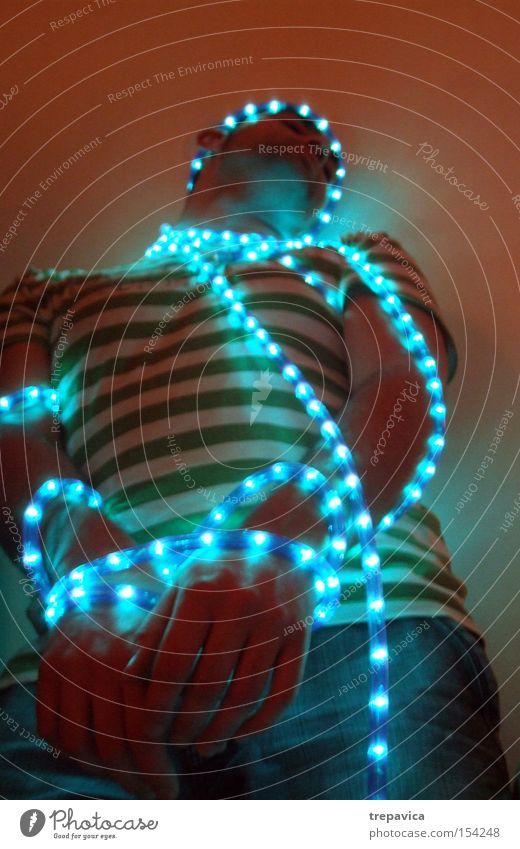 gebunden Mensch blau Einsamkeit Suche Elektrizität Technik & Technologie festhalten gefangen verbinden