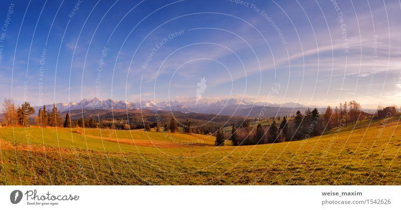 Panorama von schneebedeckten Tatra-Bergen im Frühjahr, Süd-Polen Himmel Natur Ferien & Urlaub & Reisen blau schön grün weiß Baum Landschaft Wolken Wald