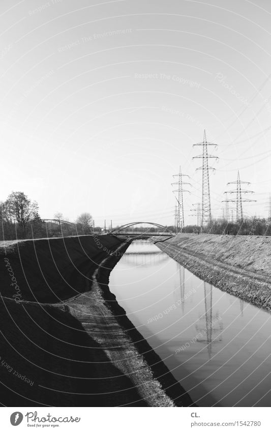 ruhrgebiet Natur Landschaft Umwelt Perspektive Energie Zukunft Schönes Wetter Brücke Fluss Ziel Wolkenloser Himmel Flussufer Schifffahrt Strommast Kanal