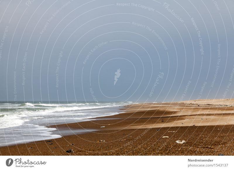 Sturm Ferien & Urlaub & Reisen Strand Meer Natur Landschaft Urelemente Sand Luft Wasser Gewitterwolken Sommer schlechtes Wetter Wind Wellen Nordsee maritim