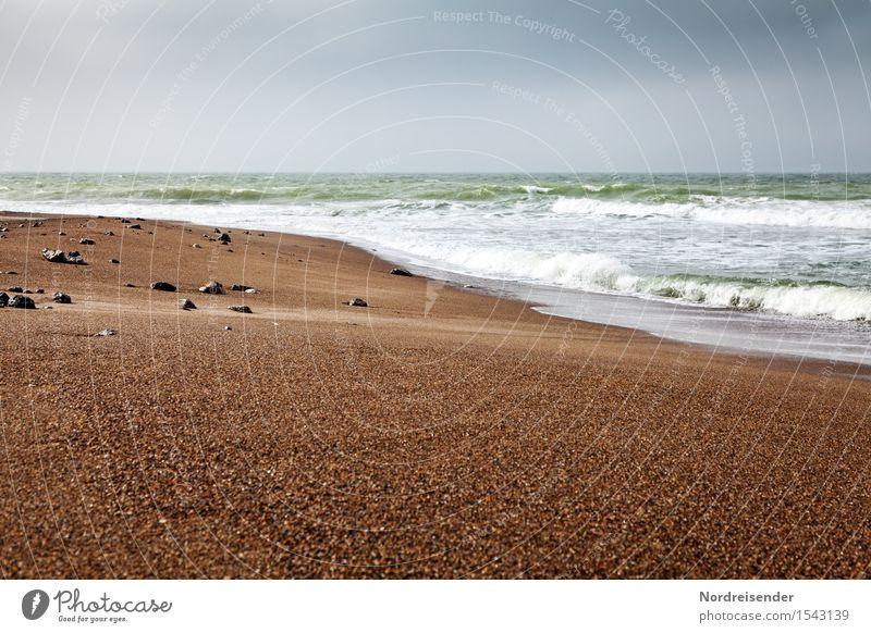 Nordsee Ferien & Urlaub & Reisen Tourismus Ausflug Ferne Freiheit Sommer Meer Wellen Urelemente Sand Luft Wasser Himmel Gewitterwolken schlechtes Wetter Regen