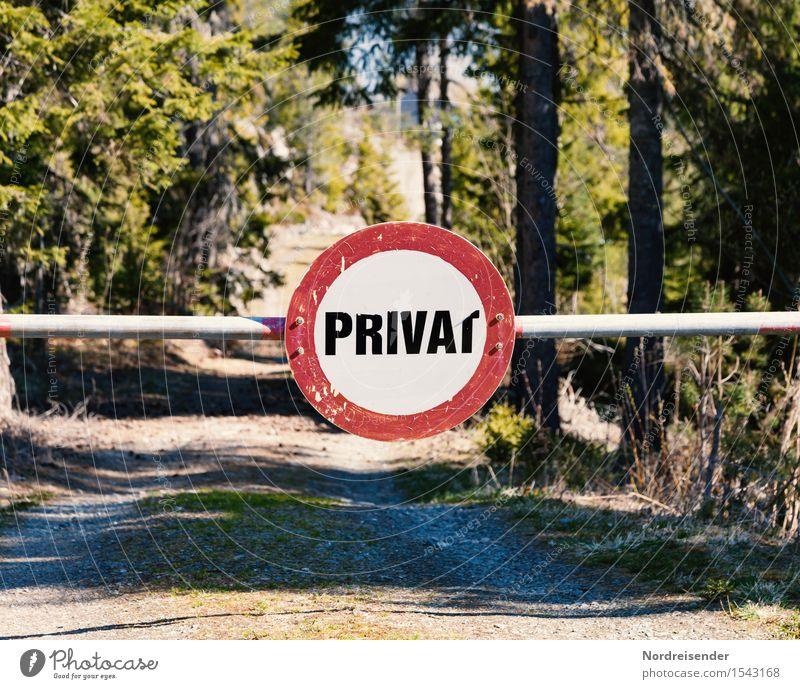 Ende der Freiheit.... Natur Baum Wald Straße Wege & Pfade Zeichen Schriftzeichen Schilder & Markierungen Hinweisschild Warnschild Verkehrszeichen