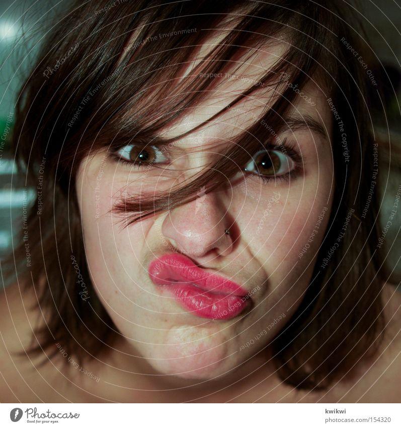 schnute I Frau schön Gesicht Auge Mund lustig Lippen Grimasse Mensch
