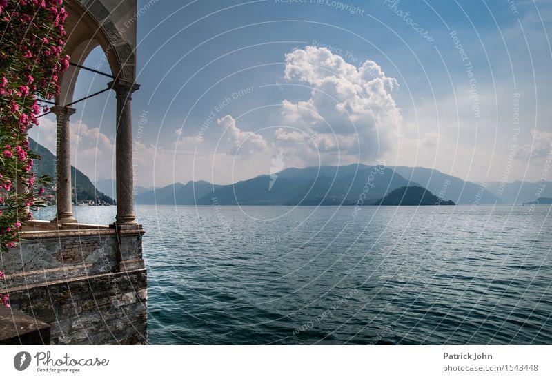 Lago di Como Himmel Natur Ferien & Urlaub & Reisen Pflanze blau Sommer Wasser Sonne Landschaft Wolken Berge u. Gebirge See Tourismus Luft wandern Ausflug