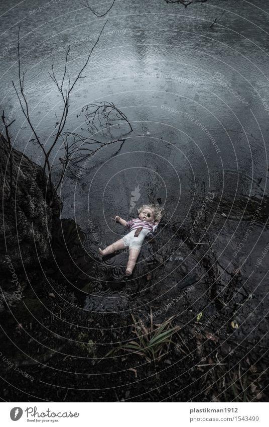 Kind Natur alt Wasser Baum Einsamkeit Blatt Wolken Mädchen dunkel Wald Traurigkeit grau See Regen Angst