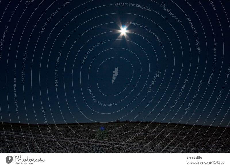 Mondschein lllV Feld Landwirtschaft Stern (Symbol) Nacht Winter kalt Romantik Bayern gefroren Langzeitbelichtung Sternenhimmel