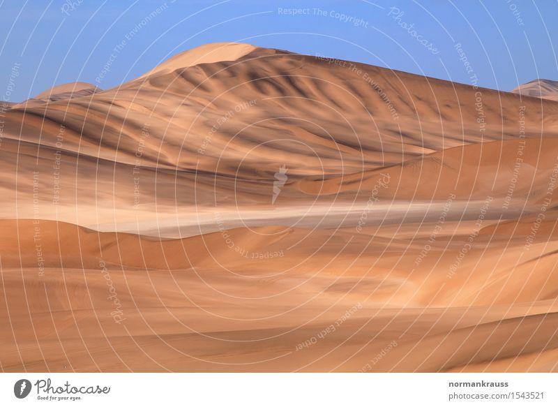 Namib Wüste in Namibia Tourismus Safari Sommer Natur Landschaft Urelemente Sand Wolkenloser Himmel Schönes Wetter entdecken groß Unendlichkeit heiß hell