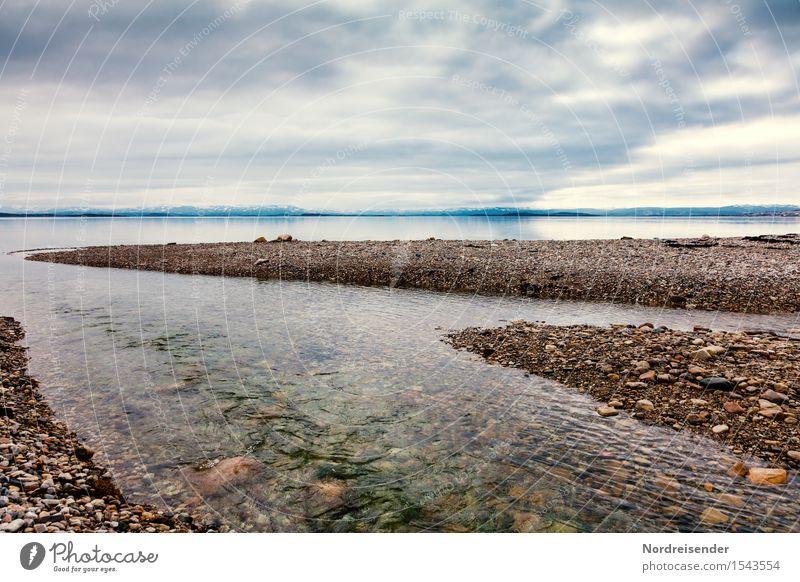 Porsangerfjord Ferne Natur Landschaft Urelemente Luft Wasser Himmel Wolken Klima Küste Fjord Meer Fluss Unendlichkeit kalt Sehnsucht Fernweh bizarr rein ruhig