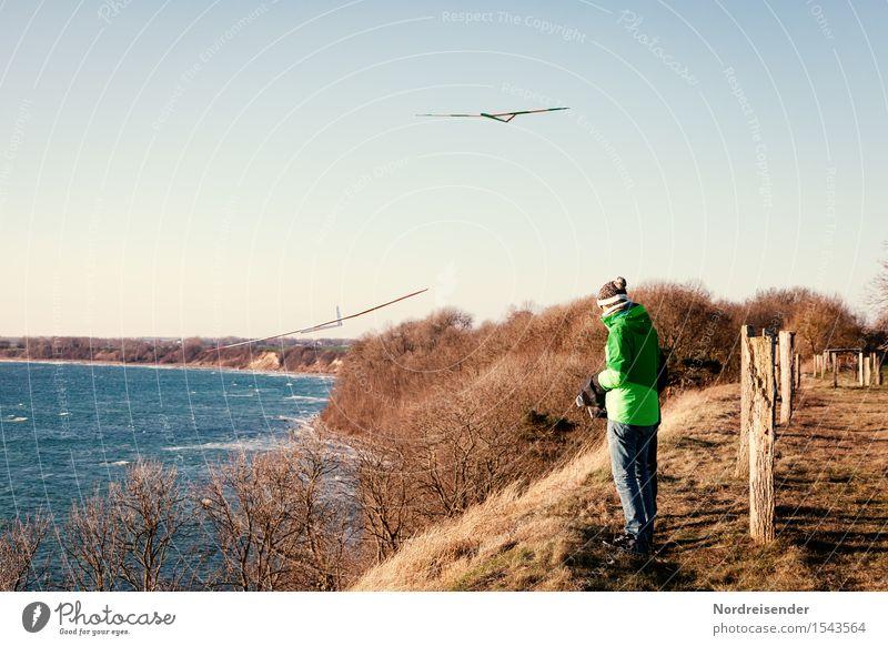 Hangsegeln Freizeit & Hobby Modellbau Technik & Technologie Luftverkehr Mensch 1 Wasser Wolkenloser Himmel Frühling Herbst Schönes Wetter Sträucher Wiese Küste