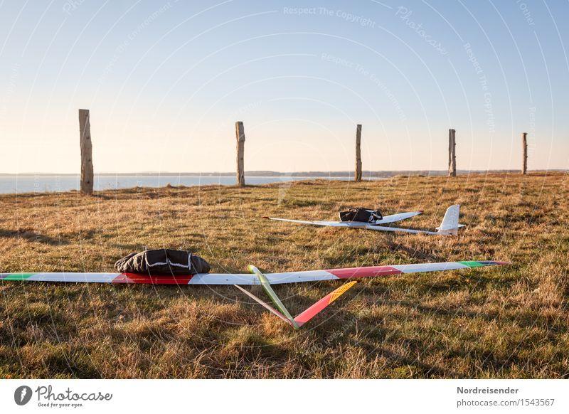 Modellflug Freizeit & Hobby Modellbau Natur Landschaft Luft Wasser Himmel Wolkenloser Himmel Frühling Schönes Wetter Wind Gras Wiese Küste Ostsee Meer Flugzeug