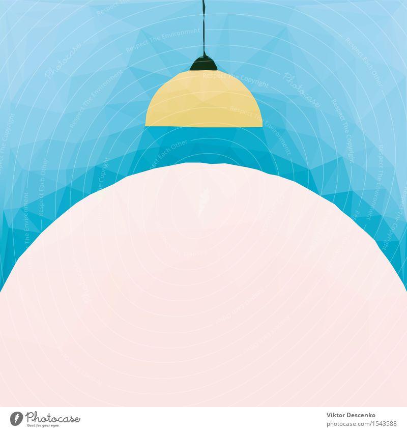Lampe mit gelbem Schirm geprägtes blaues Polygon elegant Stil Design Dekoration & Verzierung Möbel Schreibtisch Tisch Schlafzimmer Kunst Architektur Sammlung