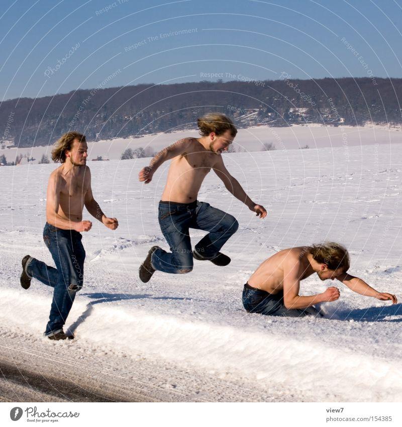 Winterspiele Mann Freude kalt Erwachsene Bewegung Schnee lustig springen laufen Geschwindigkeit Reihe Rennsport Dynamik Euphorie machen