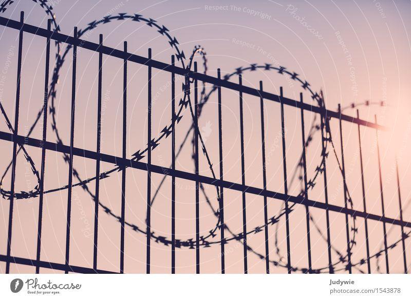 Niemand kommt rein Metall bedrohlich Heimweh Fernweh Ungerechtigkeit Krieg Krise Macht Ordnung Politik & Staat Schutz Sicherheit Trennung Überwachung Zaun Mauer