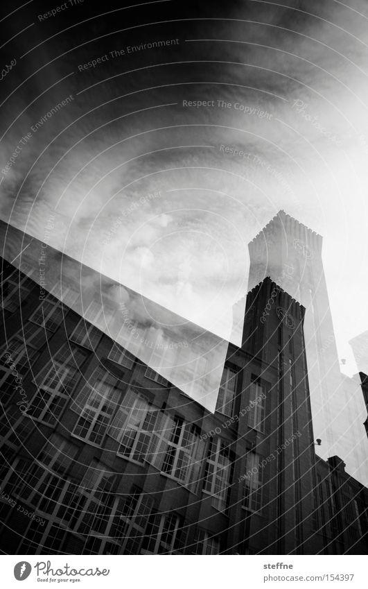 3D-Foto Himmel weiß Haus schwarz Fenster Gebäude Industrie Industriefotografie Backstein historisch Doppelbelichtung dramatisch hypnotisch