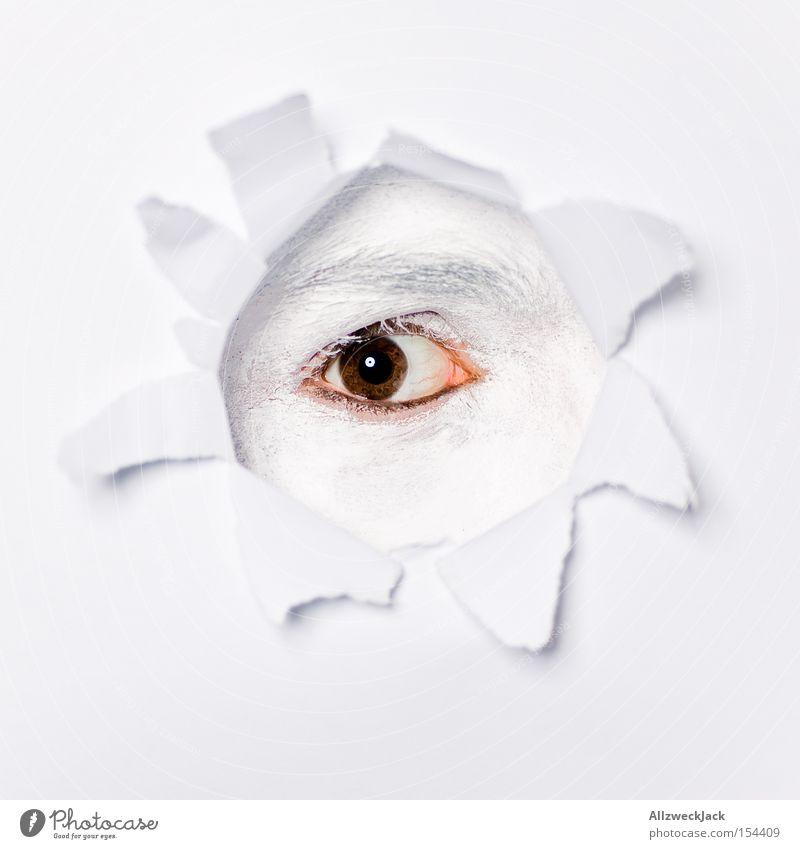 I C You Neugier Blick beobachten Voyeurismus Riss Papier Auge Loch Fetzen Freude Detailaufnahme Bildausschnitt Überwachungsstaat geheimnisvoll spionieren