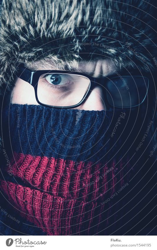 verdammt kalt Ferien & Urlaub & Reisen Abenteuer Expedition Winter Mensch maskulin Mann Erwachsene Gesicht Auge 1 18-30 Jahre Jugendliche Eis Frost