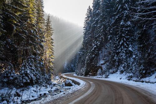 Winter Road und Sonnenstrahlen Natur Ferien & Urlaub & Reisen weiß Baum Landschaft Wald Berge u. Gebirge Straße Schnee Park frisch Sauberkeit Fluss Frost