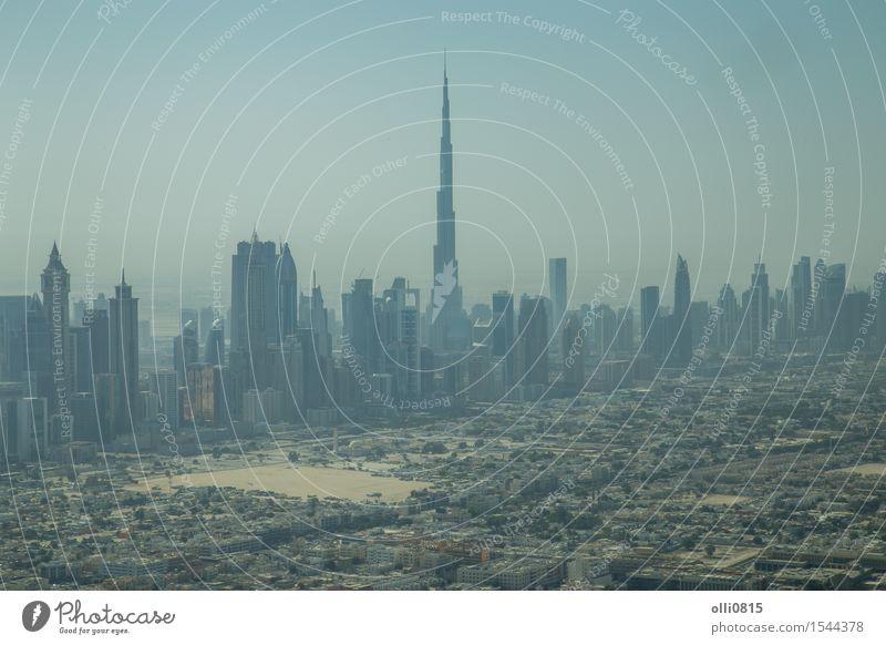 Dubai Skyline Luftaufnahme Tourismus Haus Vereinigte Arabische Emirate Asien Stadt Hochhaus Gebäude Architektur Ferien & Urlaub & Reisen Burj Khalifa