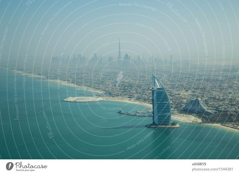 Burj Al Arab Luftaufnahme Ferien & Urlaub & Reisen Stadt Meer Haus Strand Architektur Küste Gebäude Tourismus Hochhaus Aussicht Asien Hotel Skyline Reichtum