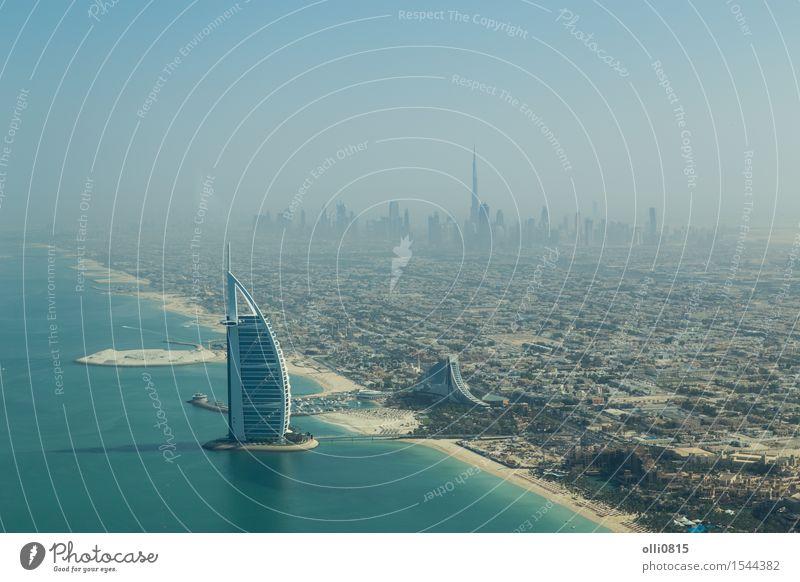 Burj Al Arab Luftaufnahme Ferien & Urlaub & Reisen Stadt Meer Haus Strand Architektur Küste Gebäude Tourismus Hochhaus Aussicht Hotel Skyline Reichtum Tourist