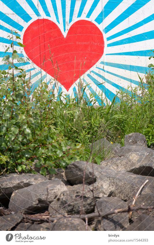 Herz hinter Gras Stil Kunst Jugendkultur Graffiti leuchten ästhetisch Freundlichkeit groß positiv schön blau grau grün rot weiß Glück Frühlingsgefühle Kraft