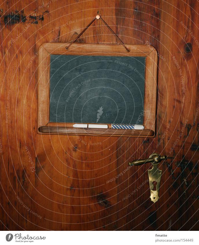 Tafel Schilder & Markierungen Tür Schloss Kreide Hintergrundbild leer Holz alt Zettel Hinweisschild