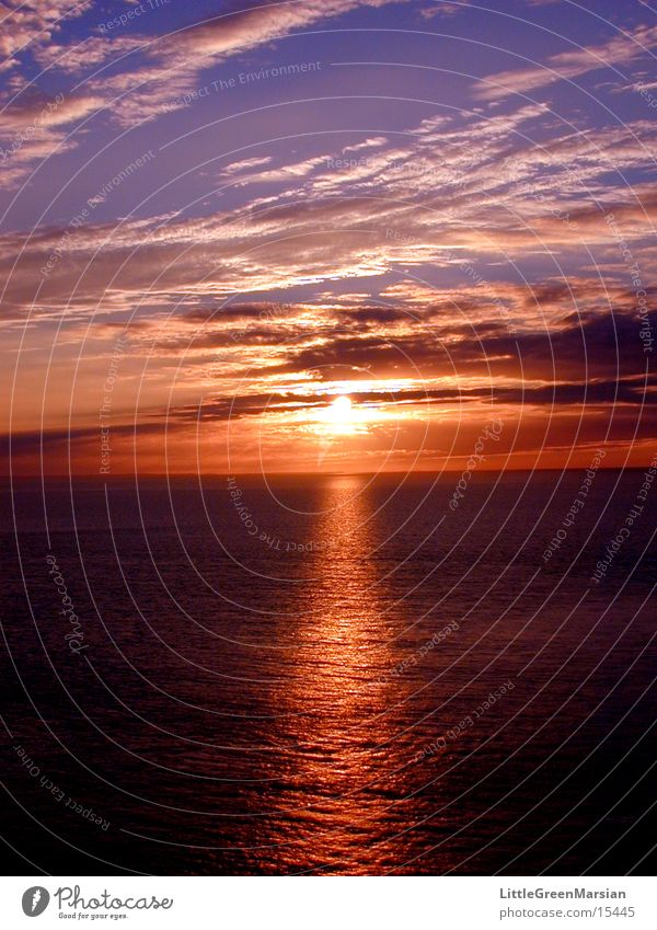 sunset 01 Meer Wolken Farbe
