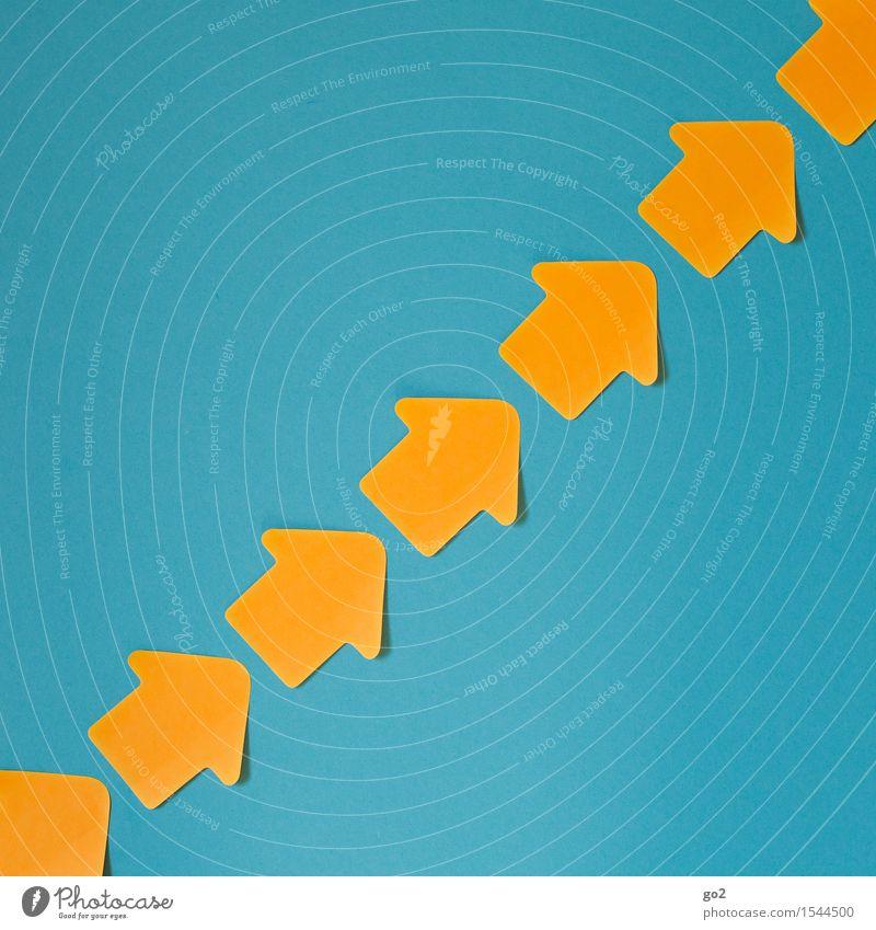 Aufstrebend Karriere Erfolg Zeichen Pfeil einfach Unendlichkeit positiv blau orange türkis Zufriedenheit Lebensfreude Euphorie Optimismus Kraft Willensstärke
