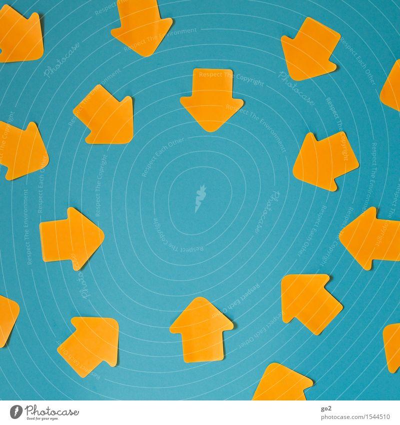 Zielstrebig blau sprechen Business orange Kraft Erfolg Kommunizieren Zukunft Zeichen Macht viele Team Zusammenhalt Pfeil türkis