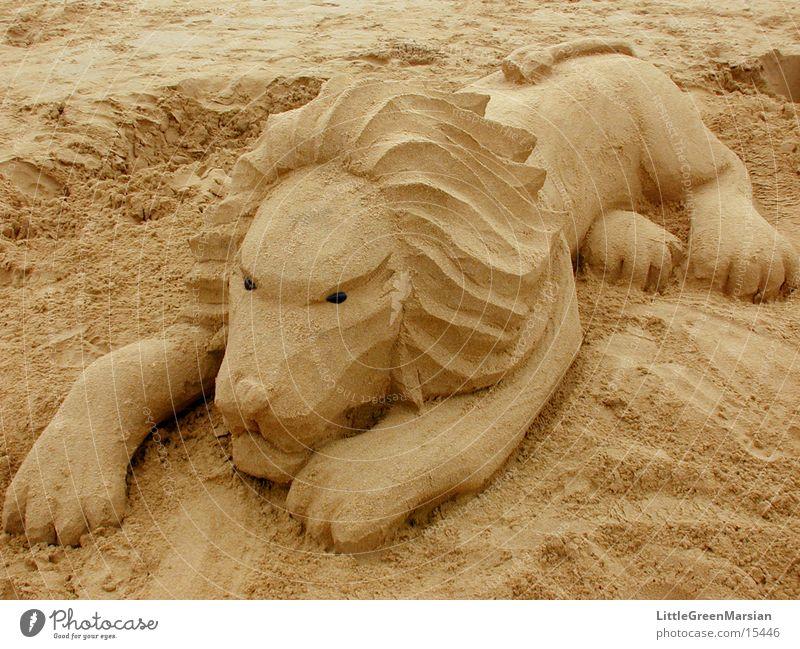 alternative zur sandburg [07] Strand Sand Freizeit & Hobby Skulptur Löwe Katze