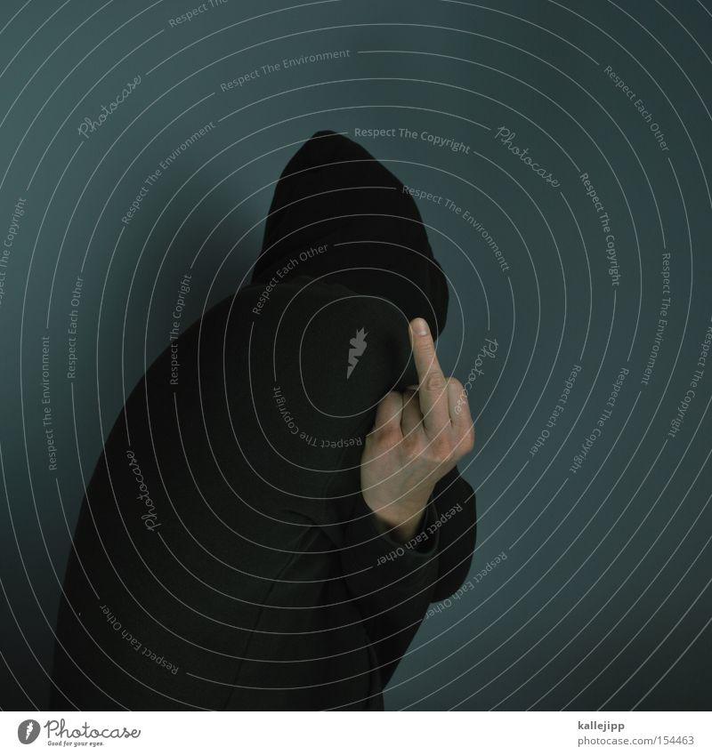 scheisse gebaut, scheisse geblieben. scheissfoto! Mensch Mann Finger Wut Kot Pullover Ärger Hass Kapuze Klischee Ghetto Hand Mittelfinger Stinkefinger