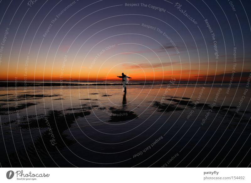 Colours II Sonnenuntergang Licht Schatten Meer Reflexion & Spiegelung Mensch kalt dunkel Freude Strand Küste Himmelskörper & Weltall Farbe Eis