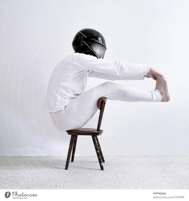 kinder an bord Motorrad Geschwindigkeit Freude Mensch fahren Rennfahrer Formel 1 Fahrer Stuhl Hochstuhl Wand Teppich Unterwäsche weiß Schutz Sicherheit
