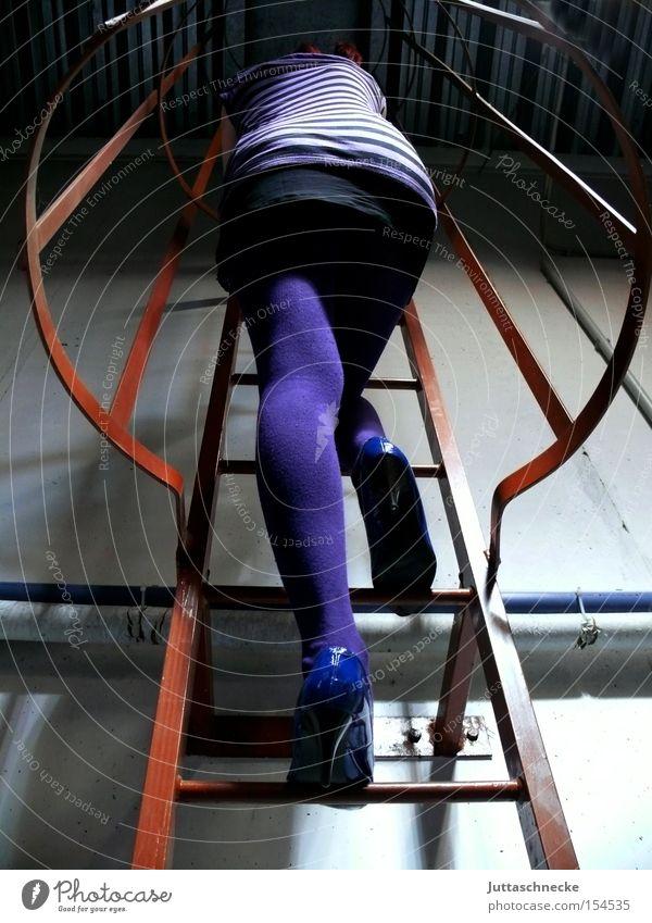 Stairway to Heaven Frau Beine violett Klettern Wissenschaften Konzentration Strümpfe Strumpfhose Leiter Damenschuhe Minirock