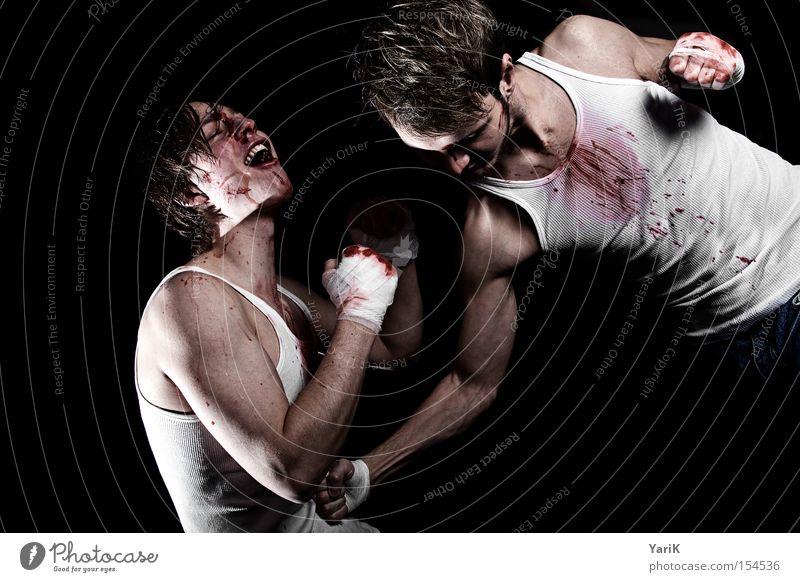 tiefschlag Gesicht Kraft Kraft schreien Bauch Blut kämpfen hart Schlag Faust Kampfsport Boxsport Schweiß Züchtigung Sport Magen