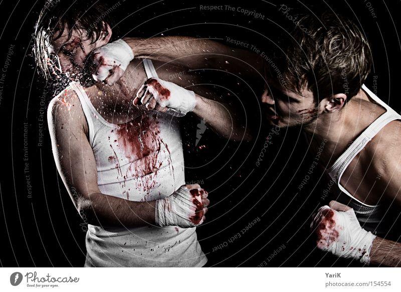 hakentrick Erwachsene Gesicht Junger Mann Kraft maskulin Kraft Konflikt & Streit Gewalt kämpfen Blut Sport hart Aggression spritzen Faust Wunde