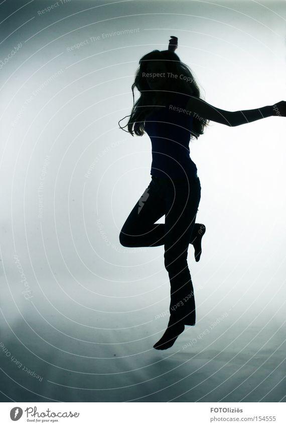 Dancing with myself. Freude Gefühle Musik Tanzen Körperhaltung positiv Silhouette Optimismus loslassen Mensch Optimist Schatten