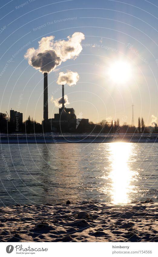 pro und contra Energie Industrie Elektrizität Fluss Industriefotografie Fabrik Abgas Schornstein Bach ökologisch Düsseldorf Heizkörper Heizung Stromkraftwerke Kohlendioxid Emission