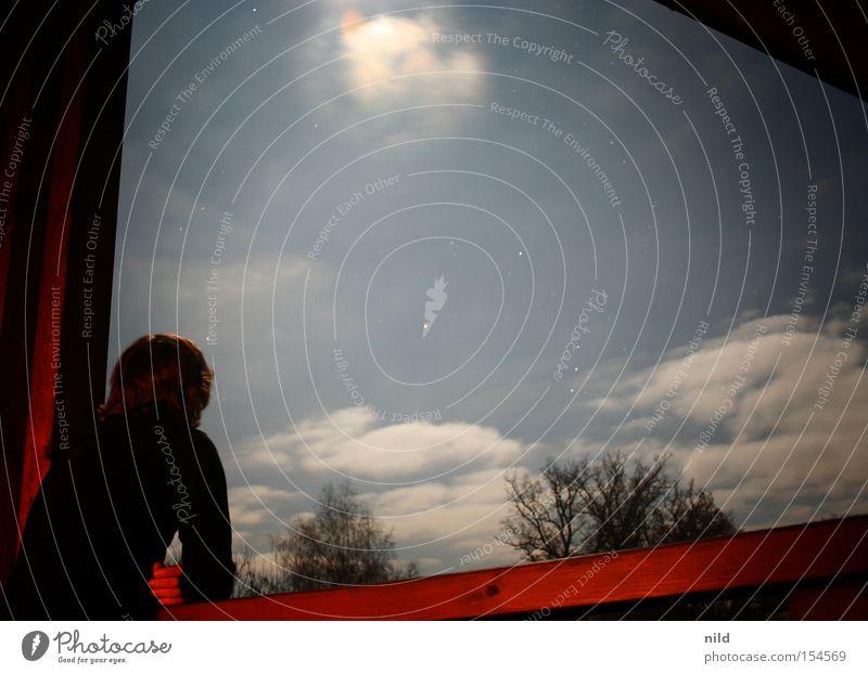 Vollmond auf Balkonien Mensch Mann Himmel ruhig Wolken Aussicht Nachthimmel Pause Mond Rauchpause