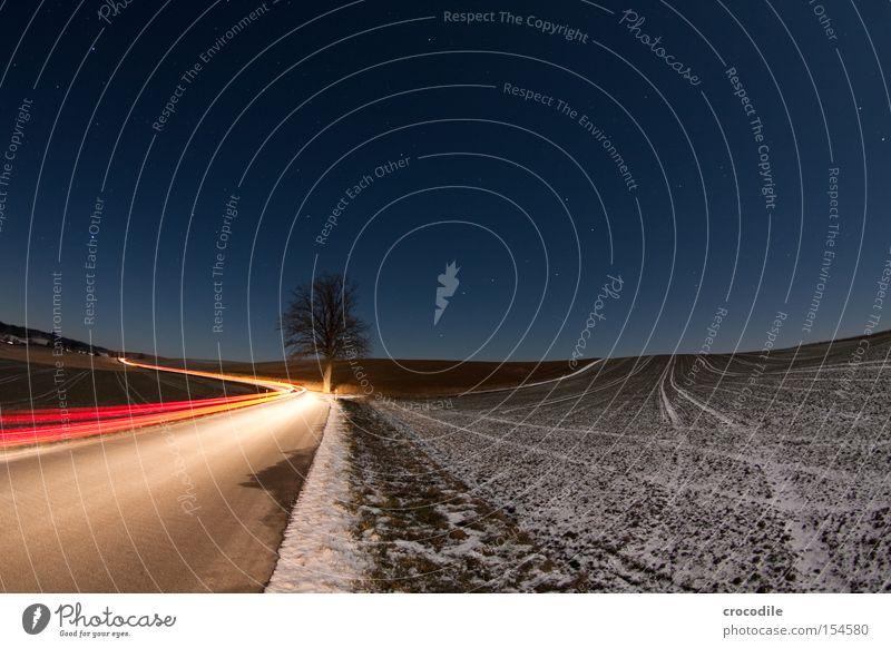 Kurvenlicht lll Licht Autoscheinwerfer Baum Feld Straße Landwirtschaft Rücklicht Nacht Stern blau Streifen Wölbung Verkehrswege Langzeitbelichtung
