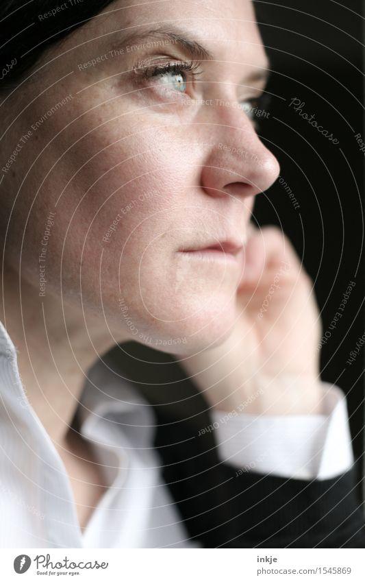 Business | Selbstportrait Karriere Frau Erwachsene Leben Gesicht 1 Mensch 30-45 Jahre seriös Gefühle Stimmung selbstbewußt Erfolg Willensstärke Mut