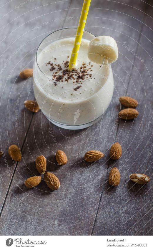 Bananen-Mandel-Shake Lebensmittel Joghurt Milcherzeugnisse Frucht Vanille Ernährung Frühstück Bioprodukte Vegetarische Ernährung Getränk Erfrischungsgetränk