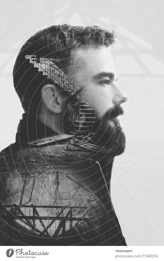 Gedanken Doppelbelichtung Kopf Mann maskulin Porträt Treppe Dach Keller Ruine Denken Einsamkeit Fassade schwarz weiß Profil seitlich Bart Herr