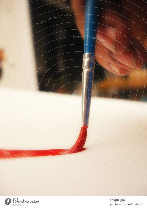 Hand weiß blau rot Farbe Farbstoff Kunst Gemälde Kreativität Bürste Kunsthandwerk