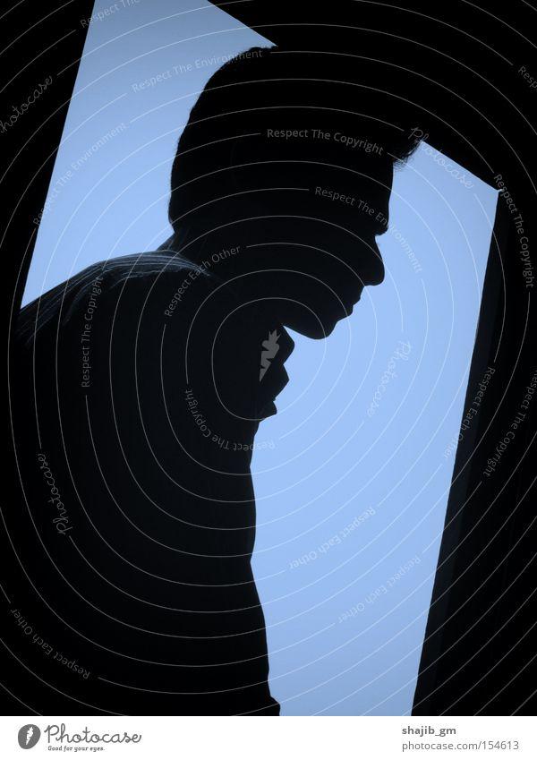 Porträt einer Seele Mann Himmel trist Einsamkeit Traurigkeit