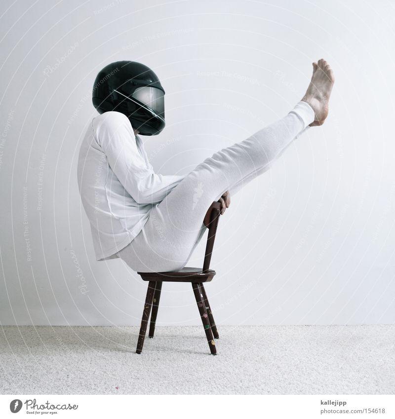kavalierstart Mensch weiß Geschwindigkeit Sicherheit Stuhl Motorrad Unterwäsche Helm Teppich Turnen Angeben Militärflugzeuge Visier Harrier Hochstuhl