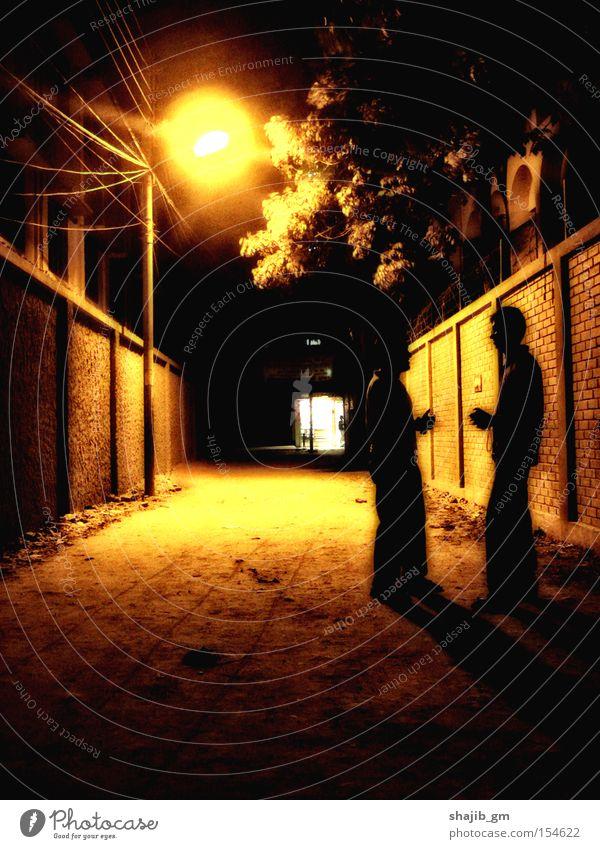 Baum schwarz gelb Straße Wand Freundschaft Laterne Sepia