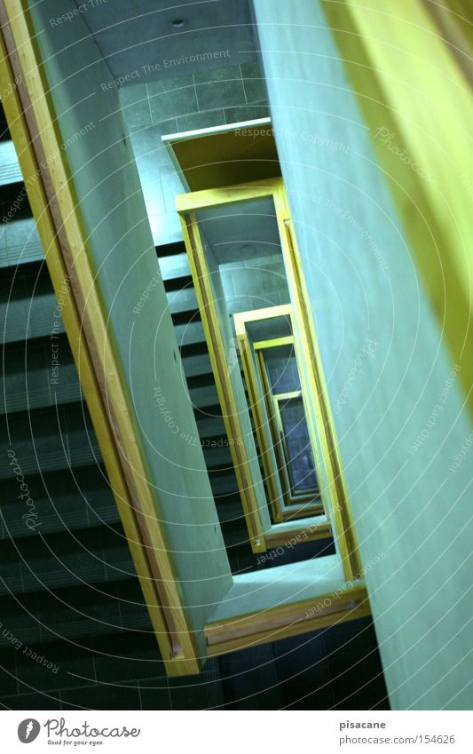 runter*nimmer Treppe aufwärts Stein Spirale Beton Tafel Treppengeländer Kontrast Flucht kommen gehen Architektur modern abwärts Holz